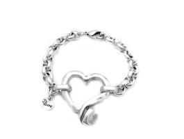Maxi pulsera cuore.Baño de plata